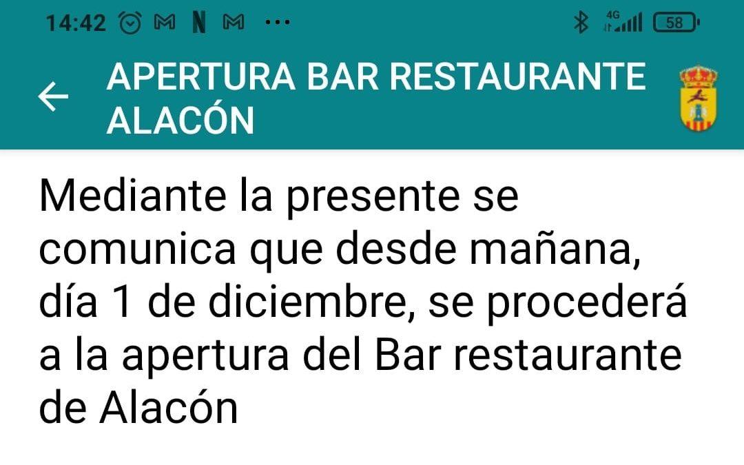 RE-APERTURA BAR RESTAURANTE ALACÓN