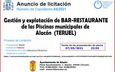 LICITACIÓN DE LA GESTIÓN Y EXPLOTACIÓN DE BAR RESTAURANTE PISCINAS DE ALACÓN