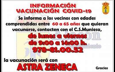 INFORMACIÓN VACUNACIÓN  COVID-19 __ DE 60 A 65 AÑOS