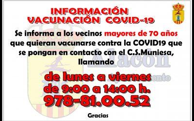 INFORMACIÓN VACUNACIÓN  COVID-19 MAYORES DE 70 AÑOS