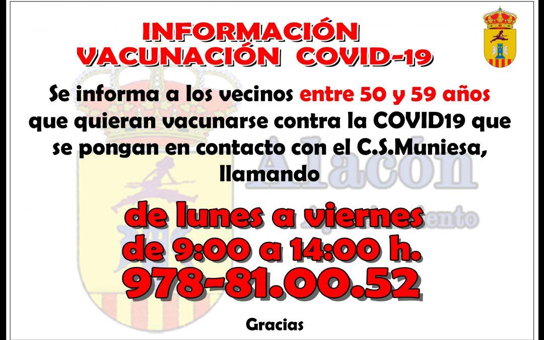 INFORMACIÓN VACUNACIÓN  COVID-19 __ DE 50 a  59 AÑOS
