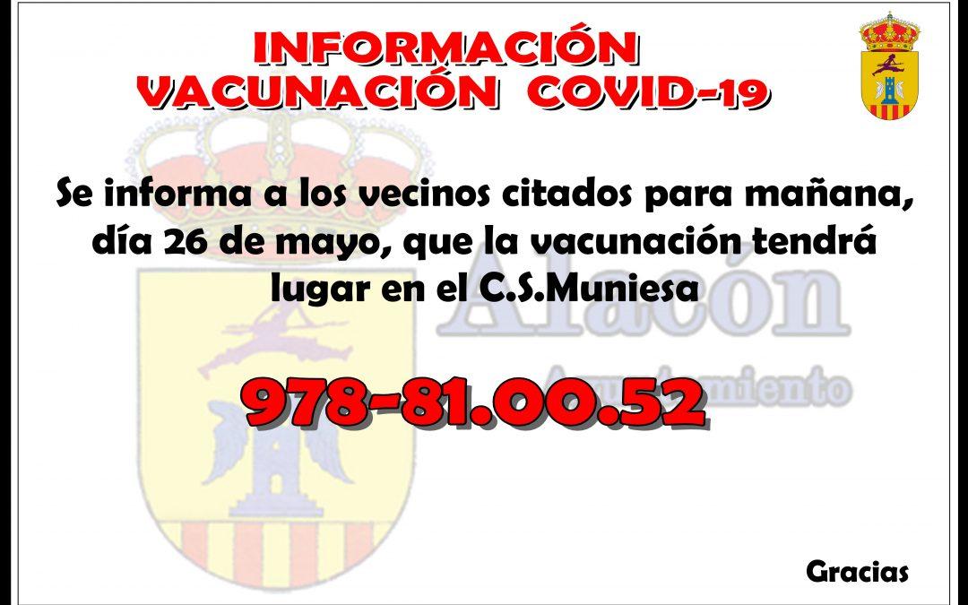 INFORMACIÓN VACUNACIÓN  COVID-19 __ DÍA 26 MAYO 2021
