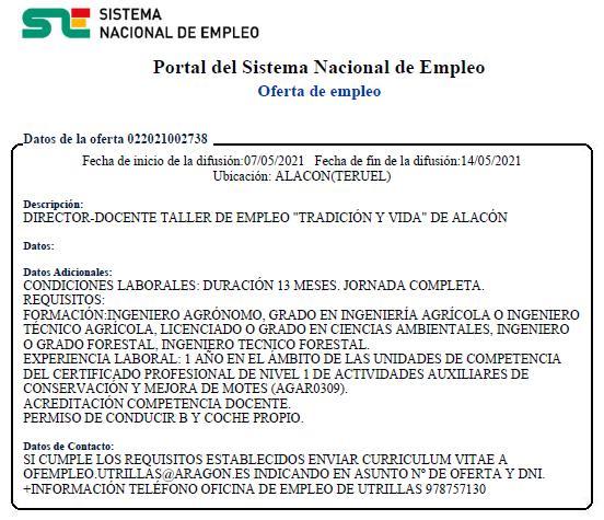 OFERTA de EMPLEO de DIRECTOR-DOCENTE para TALLER EMPLEO ALACÓN 2021