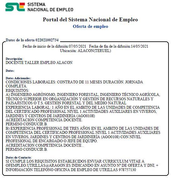 OFERTA de EMPLEO de DOCENTE para TALLER EMPLEO ALACÓN 2021