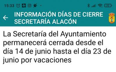 INFORMACIÓN DÍAS de  CIERRE SECRETARÍA ALACÓN